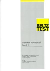 Matrizen-Test-Manual, Band 1