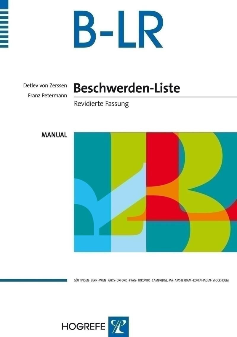 Test komplett bestehend aus: Manual, 20 Fragebögen B-LR, 20 Fragebögen B-LR', 20 Verlaufsbögen B-LR/B-LR' und Box