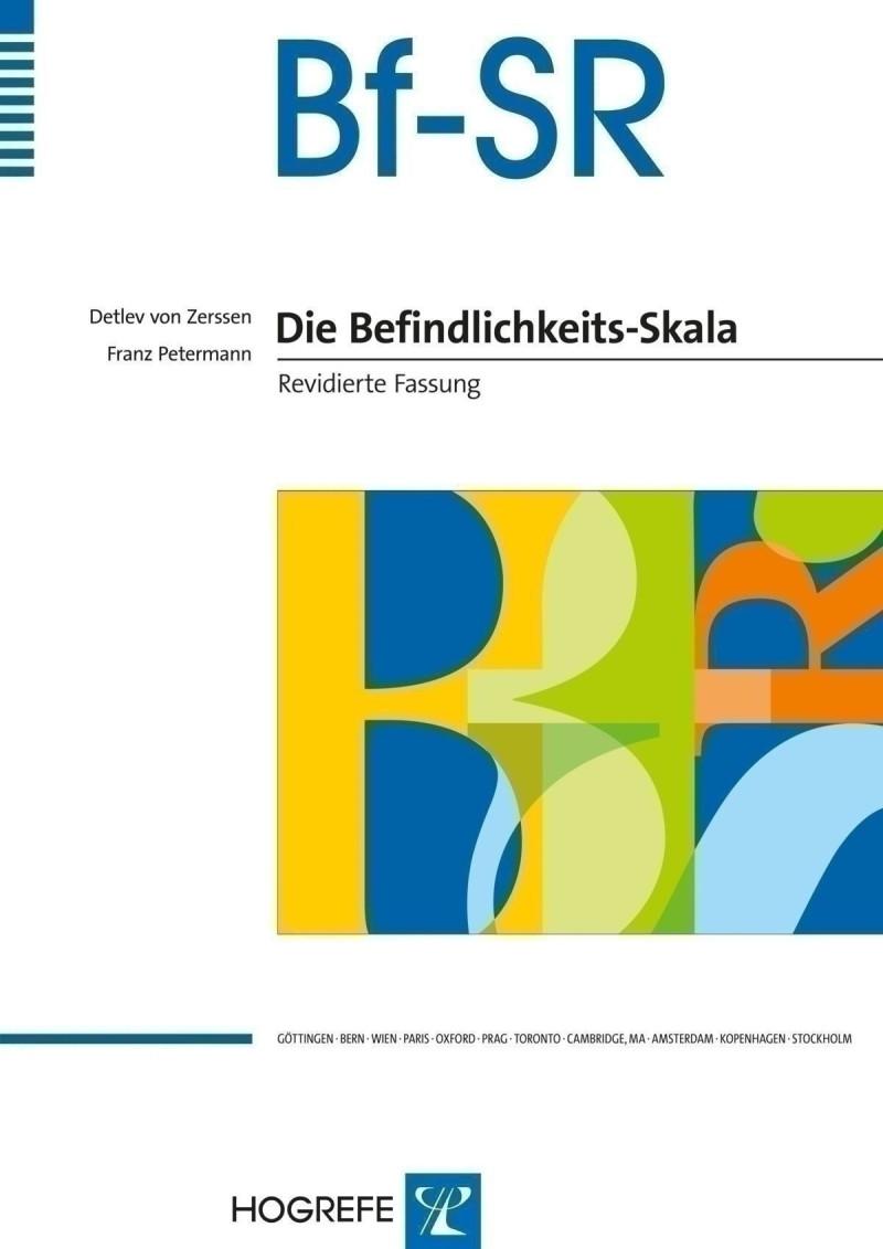 Test komplett bestehend aus: Manual, 20 Fragebögen Bf-SR, 20 Fragebögen Bf-SR´, 20 Verlaufsbögen Bf-SR/Bf-SR´, 2 Schablonen und Box