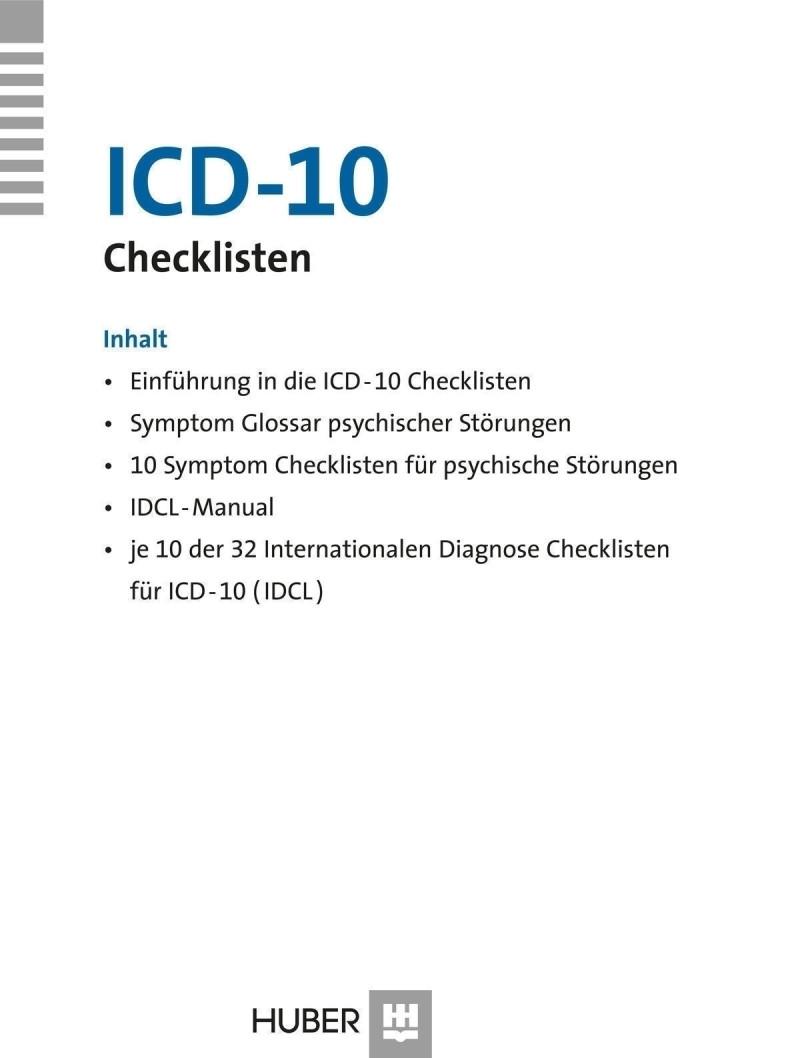 Checklisten-Box komplett bestehend aus: kurzer Einführung, Symptom Glossar, 10 Exemplaren der «Symptom Checkliste» (SCL) der WHO, Manual zu den «Internationalen Diagnosen Checklisten» (IDCL) und je 10 Exemplaren der 32 IDCL für ICD-10
