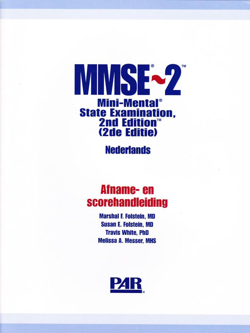 MMSE-2 startpakket (handleiding, 25 korte, 25 standaard en 25 uitgebreide formulieren (blauw), scoringsmal, Amerikaanse normengids)