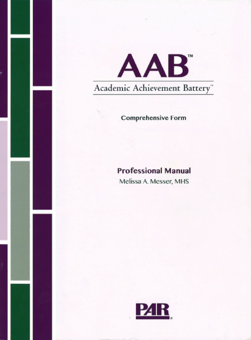 Comprehensive Form Print Kit (AAB Comprehensive Form, Professional Manual with Fast Guide, 25 Comprehensive Form Item Booklets, 25 Comprehensive Form Response Booklets, Stimulus Book 1, Stimulus Book 2, a Stimulus Card, 5 free Screening Form Item Booklets