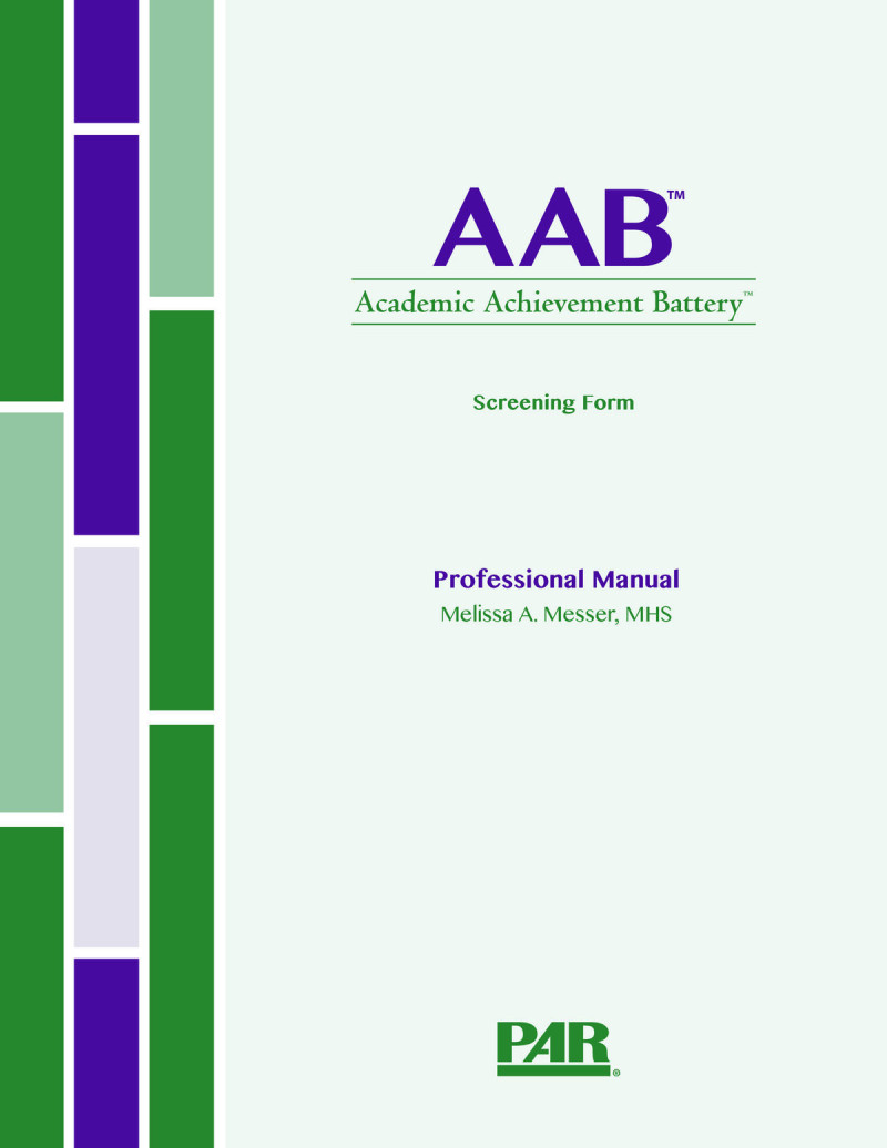 Screening Form Print Kit (AAB Screening Form Professional Manual with Fast Guide, 25 Screening Form Item Booklets, 25 Screening Form Response Booklets and a Stimulus Card)